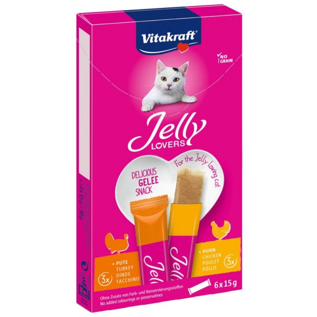 Vitakraft Jelly Lovers Kip & kalkoen -6x 15 gram