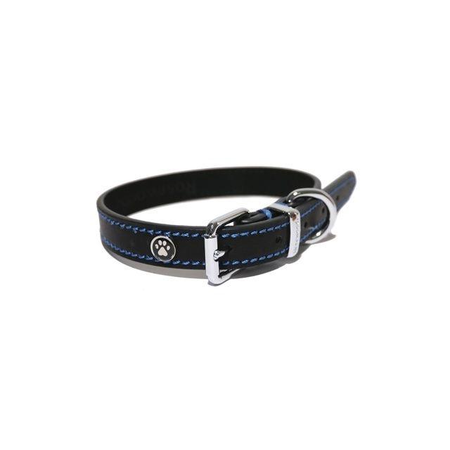 Rosewood Luxury Leather Halsband Hond Leer Luxe Zwart - 1,9x36-46 cm