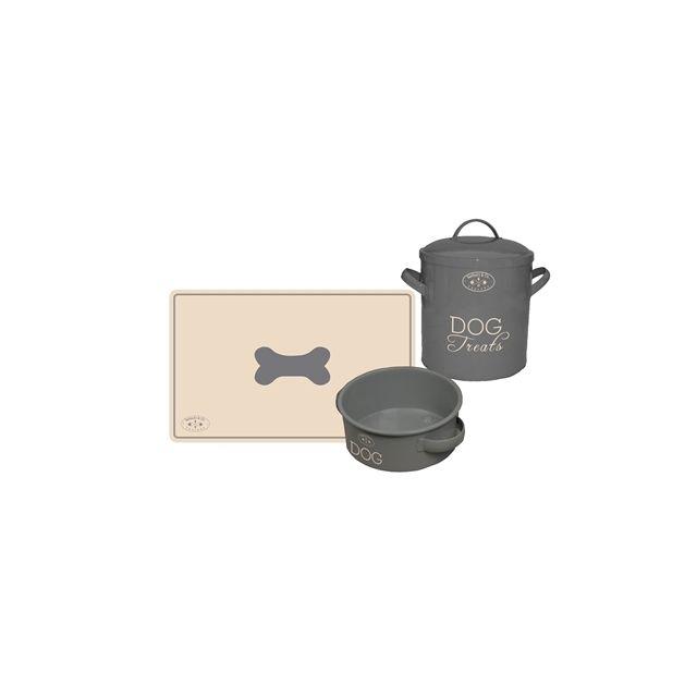 Banbury & Co Giftset Hond Placemat & Voerbak & voorraadpot Tin