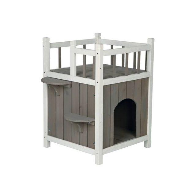 Trixie Kattenhuis Cat'S Home Met Balkon grijs / Wit - 45x65x45 cm