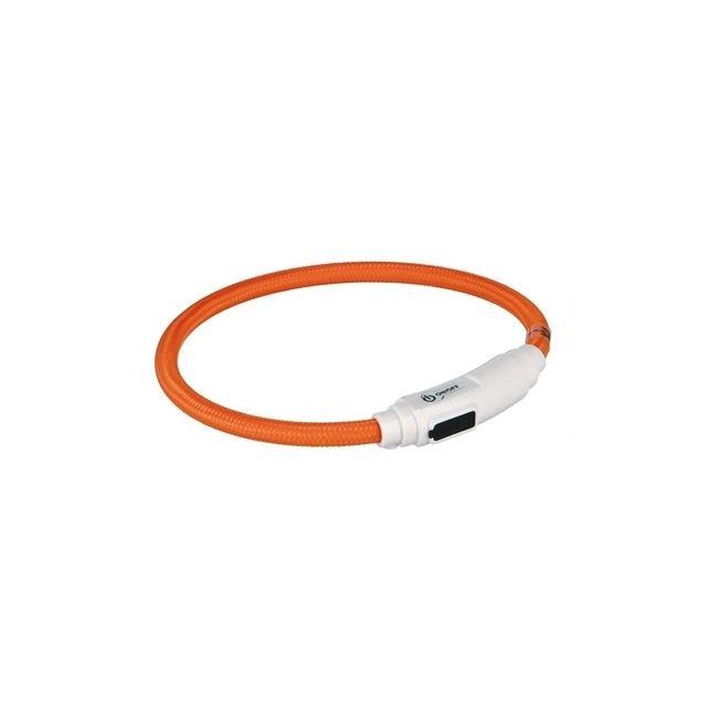 Trixie Halsband Kat Flash Light Lichtgevend Usb Oplaadbaar Oranje -7 Mmx 35 cm