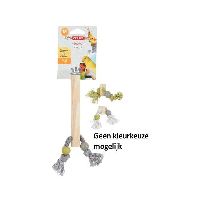 zolux zitstok hout met touw assorti 2X1,5X17 CM