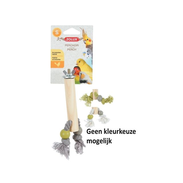 zolux zitstok hout met touw assorti 2X1,5X12 CM