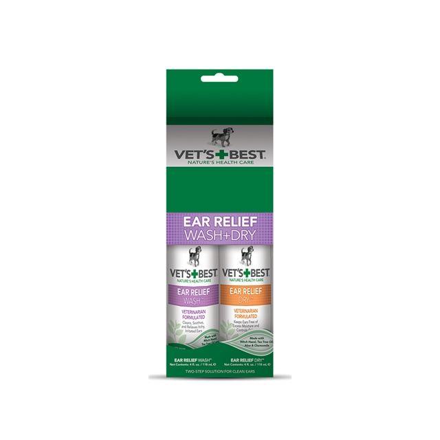 Vets Best Ear Wash & Dry Combo Pack -2x120 ml